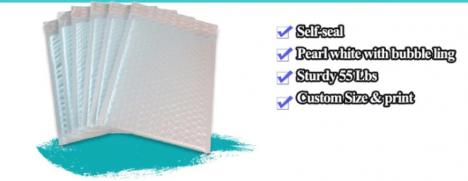 White Bubble Mailers Padded Envelopes , Custom Printed Bubble Mailers 96% Reflectivity
